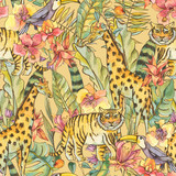 Watercolor Seamless Pattern with flowers of orchids, monstera, palm, liana, tiger, giraffe - 236490789