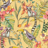 Watercolorl Exotic Tropical Seamless Pattern with orchids, lemur and toucan - 236490911