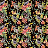 Watercolorl Exotic Tropical Seamless Pattern with orchids, lemur and toucan - 236490932