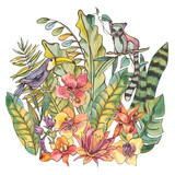 Watercolorl Exotic Tropical Greeting Card with orchids, lemur and toucan - 236490966