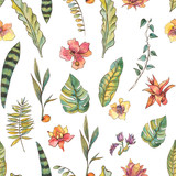 Watercolor seamless pattern, Exotic natural vintage blooming orchid flowers - 236491102