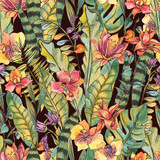 Watercolor seamless pattern, Exotic natural vintage blooming orchid flowers - 236491108