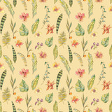 Watercolor seamless pattern, Exotic natural vintage blooming orchid flowers - 236491163