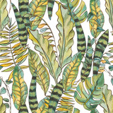 Watercolor Seamless Exotic Background with Tropical Leaves - 236491185