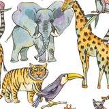 Watercolor seamless pattern with jungle animals, Natural Exotic Tropical texture, elephant, tiger, giraffe - 236491310