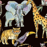 Watercolor seamless pattern with jungle animals, Natural Exotic Tropical texture, elephant, tiger, giraffe - 236491358