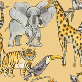 Watercolor seamless pattern with jungle animals, Natural Exotic Tropical texture, elephant, tiger, giraffe - 236491376