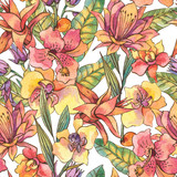 Watercolor seamless pattern, Exotic natural vintage blooming orchid flowers - 236491551