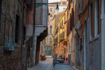 narrow street in venice italy