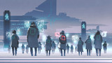 futuristic concept showing crowd of people walking on city street, digital art style, illustration painting - 236499584