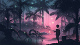 boy fishing on the swamp in tropical forest with glowing butterflies, digital art style, illustration painting - 236499596