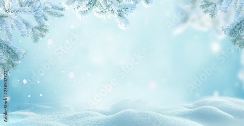 .Winter Christmas background with fir tree branch .Merry christmas and happy new year greeting card with copy-space.Christmas background.Winter landscape with snow and fir trees branch