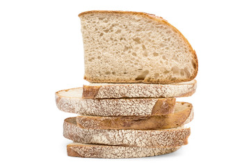 Stack of pieces of bread on white background.