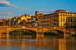 Quadro View of medieval stone bridge Ponte Vecchio and the Arno River in Florence, Tuscany, Italy. Florence is a popular tourist destination of Europe.