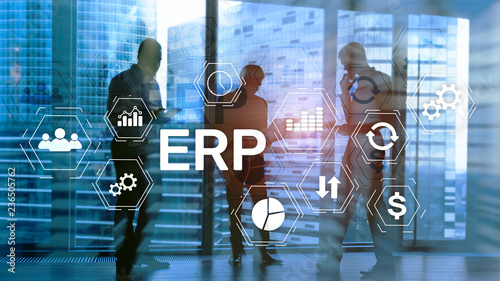 ERP system, Enterprise resource planning on blurred background. Business automation and innovation concept. - 236505762