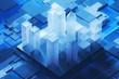 Blue city model on motherboard - 236506186