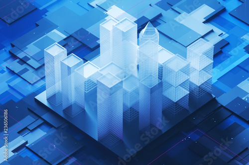 Blue city model on motherboard - 236506186