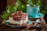 Closeup of rustic cheesecake served with coffee - 236506765