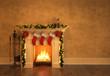 Leinwanddruck Bild - Fireplace with christmas decoration 3D rendering