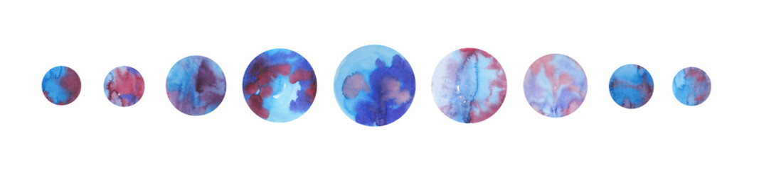 Nine blue watercolor circles. Elements for your design © Tilman_Chamomile