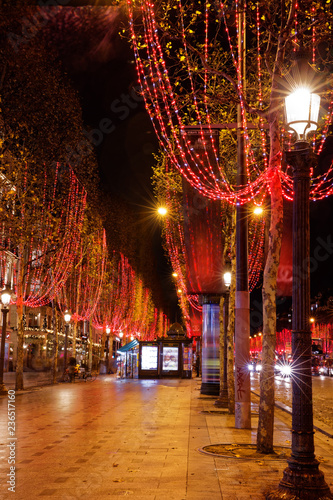 Paris, France - November 18, 2018: Xmas illuminations on Champs Elysees in Paris - 236517160