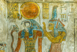 Ancient Painting of the egyptian god Ra and Maat in a tomb