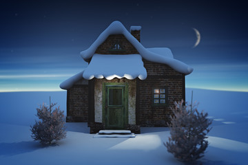 house in the snow / 3d render