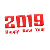 2019 Happy New Year Red-White Stamp Text on white backgroud