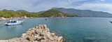panorama of Papaz Koyu lagoon on Turkish Mediterranean coast Karaoz, Antalya province - 236566574