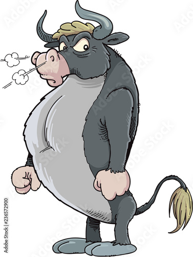 Angry bull with a white background, vector