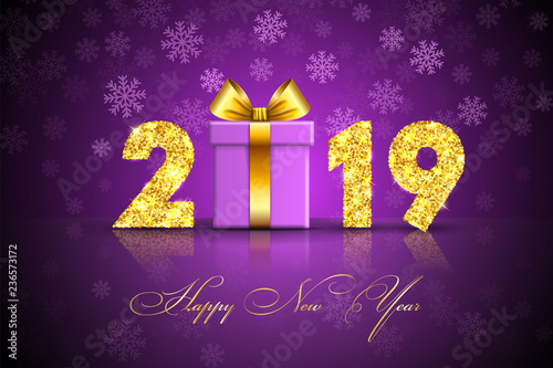 Happy New Year Card 3d Gift Box Ribbon Bow Gold Number 2019