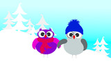 Vector illustration of owl family in the snowy woods in the winter. - 236575528
