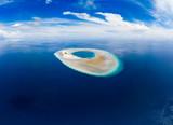 Aerial idyllic atoll, scenic travel destination Maldives Polinesia. Blue lagoon and turquoise coral reef. Shot in Wakatobi National Park, Indonesia - 236577592