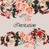 Beautiful invitation card with vintage Victorian ornament - 236577761