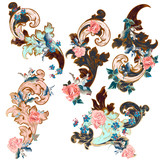 Collection of vintage Victorian swirls with flowers - 236578995