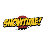 showtime word text with thunder greeting theme