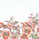 Floral vector background with cosmos flowers - 236580351