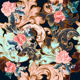 Floral vector ornamental pattern in vintage style with roses - 236581175