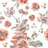 Floral vector pattern with cosmos flowers - 236581188