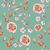 Floral vector rustic pattern with cosmos flowers - 236581349