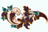 Vector vintage Victorian ornament with foliage - 236582353