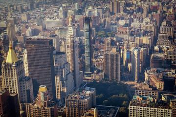 Manhattan Midtown buildings top view, toned image