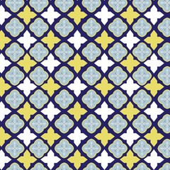 Vector tile pattern, Lisbon floral mosaic, Mediterranean seamless navy blue ornament,vector illustration.