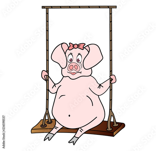 Colorful nice pig girl swinging on the seesaw, symbol of the upcoming 2019 year