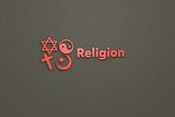 3D illustration of Religion, red color and red text with brown background.