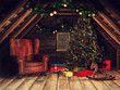 Old wooden attic with an armchair, Christmas tree, rocking horse, presents and ornaments. 3D render.
