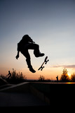 Silhouette of man on skateboard during the jump - 236604778