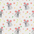 Cute mice and lovely flowers seamless pattern. - 236608593