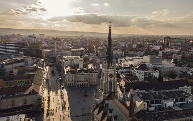 Aerial view of Novi Sad before sunset