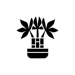 Black & white vector illustration of bamboo with leaves in pot. Decorative dracaena plant in container. Flat icon of indoor green foliage plant. Isolated object